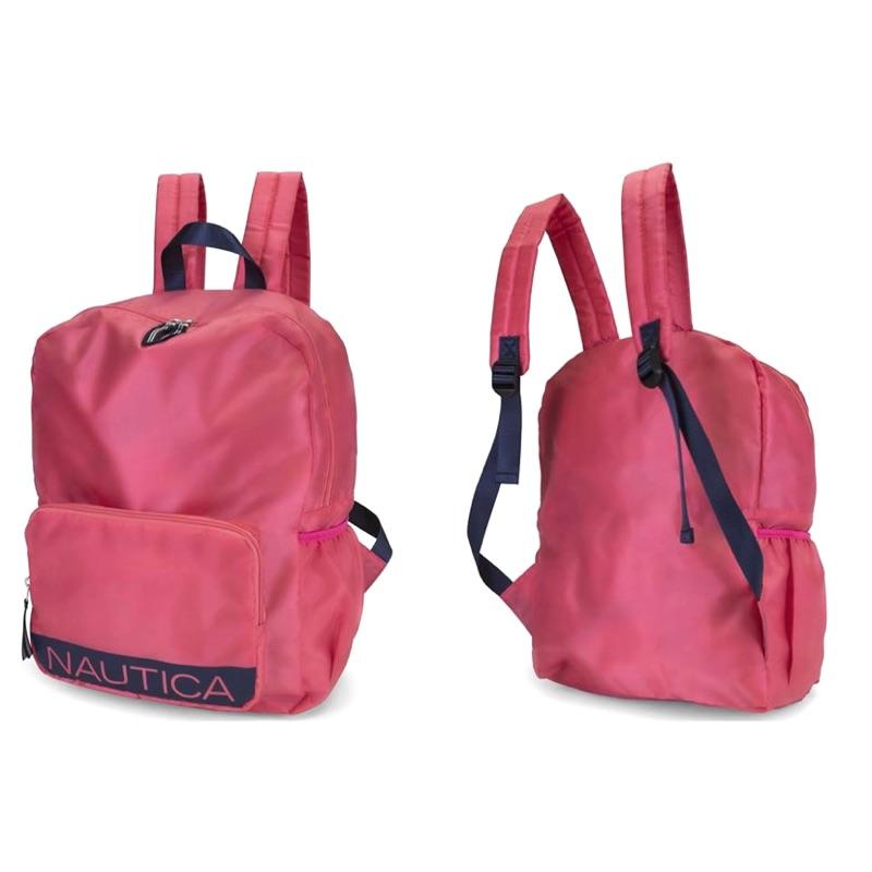 全新美國網站購入正品~Nautica 桃粉色尼龍收納式背包
