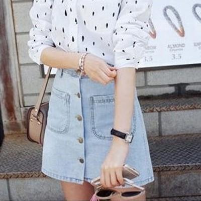 現貨 - 韓國排扣高腰顯瘦A字牛仔裙短裙。【A-179】