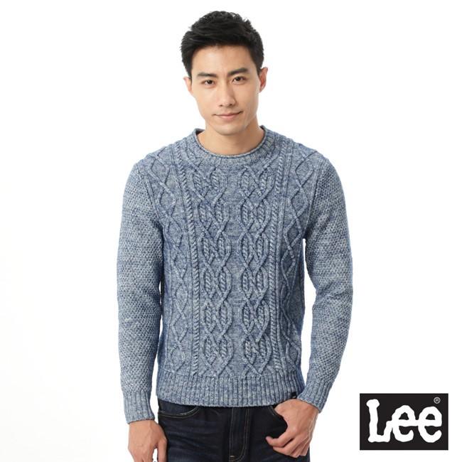Lee 圓領針織毛衣/RG-男款-麻花藍--LL15