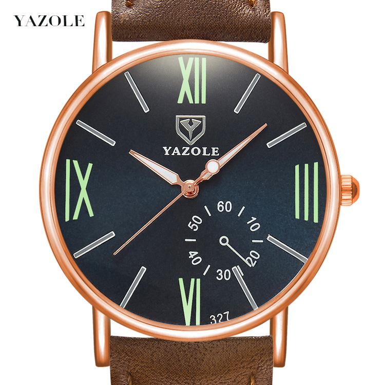 YAZOLE327時尚時裝商務情侶學生男女款羅馬刻度皮帶防水夜光手錶