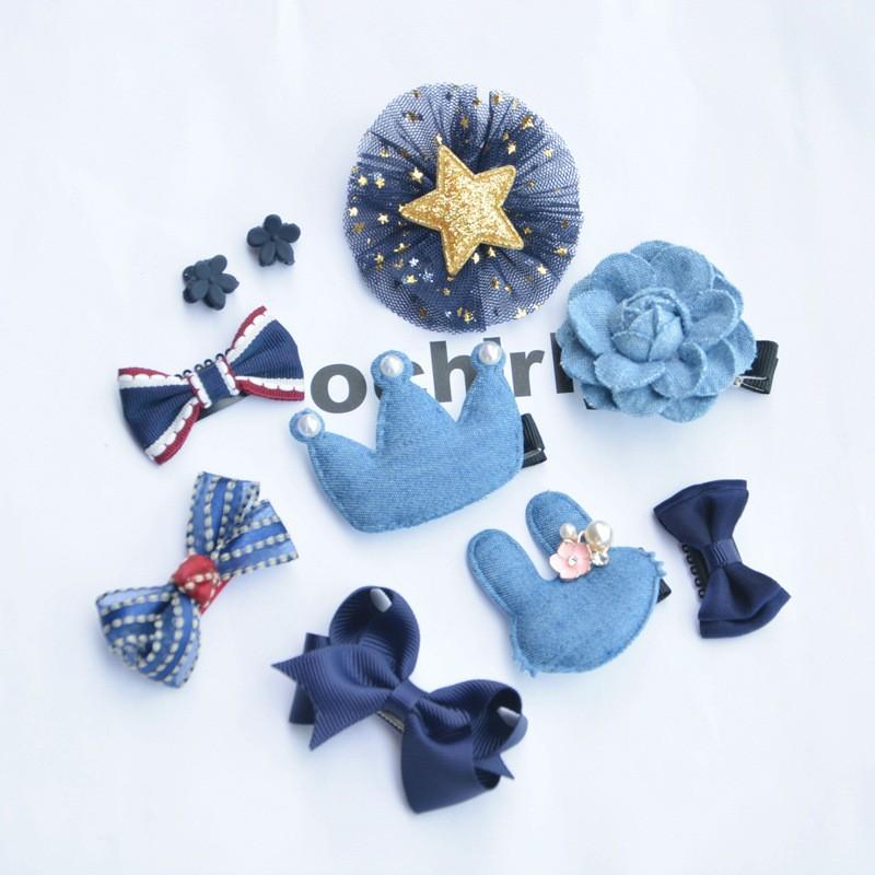 兒童髮飾套裝 寶寶髮夾 小抓夾 大頂夾 皇冠10個裝 女孩髮夾套裝(9B-17) A0
