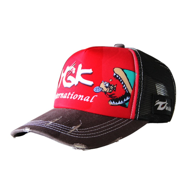 YGK 職漁者戶外釣魚帽夏季透氣網帽魚圖案海釣磯釣帽子休閑遮陽帽