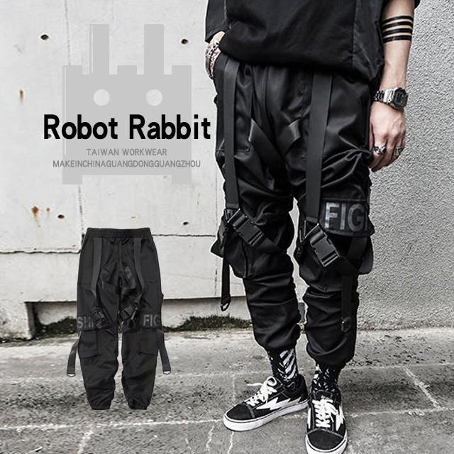 【MR.兔】工裝褲男潮牌多口袋暗黑機能褲傘兵褲嘻哈織帶設計束腳褲