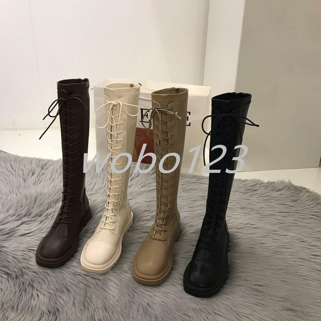 【下殺】長筒靴 女鞋 2020新款 秋冬加絨加厚底小個子高筒不過膝卡其色長靴 子