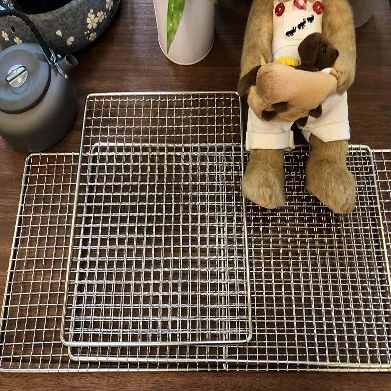 304燒烤網片不銹鋼色網架小方格鐵絲網格烤肉網大號烤網工具燒烤爐網