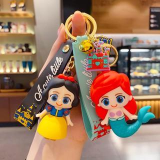 BM03 卡通滴膠少女心人魚公主鑰匙扣可愛白雪公主愛麗絲鑰匙鏈包包掛件