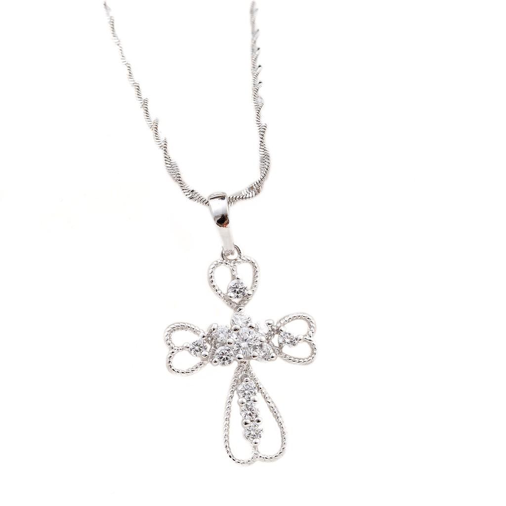 心心十字架 水鑽 項鍊 甜美氣質風格 時尚精品 艾豆 ND6505
