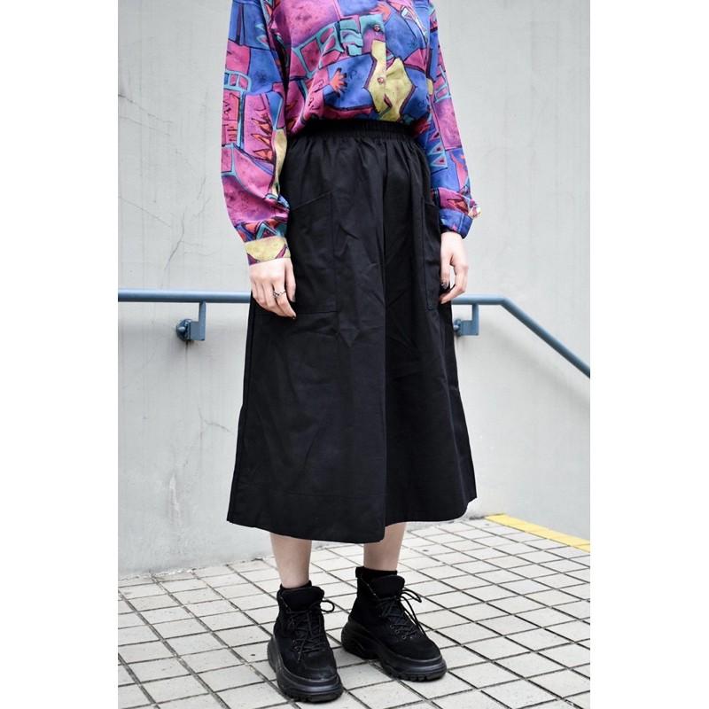 緣 選品 / 2色大口袋鬆緊腰圍 工裝棉裙 S17022