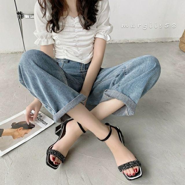 涼鞋•簡約一字涼鞋 露趾涼鞋 水鑽粗跟鞋 大碼 預購