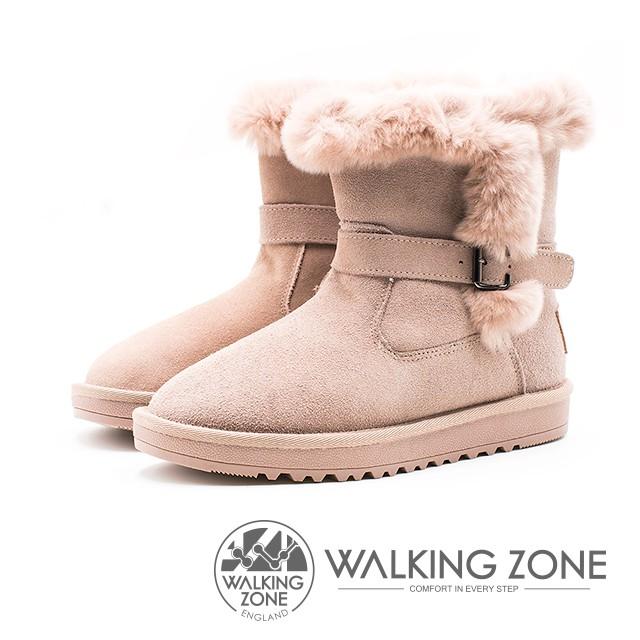 【WALKING ZONE】真皮內刷毛扣帶中筒靴 女靴(杏)