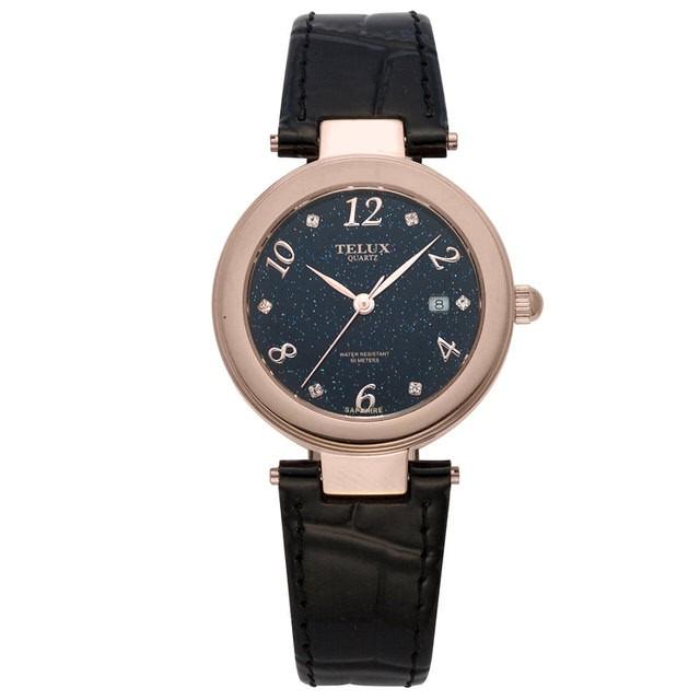 台灣品牌手錶腕錶【TELUX鐵力士】煥彩女神腕錶 30MM台灣製造石英錶7771GRG-BK-P 金框黑面皮帶