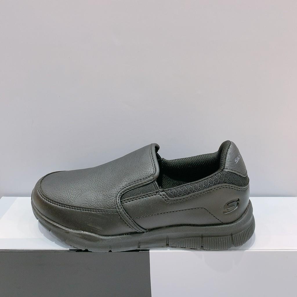 SKECHERS NAMPA 女生 黑色 舒適 防滑 防油 寬楦 工作鞋 運動 休閒鞋 77236WBLK