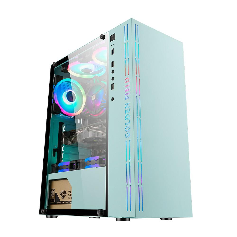 📣爆款免運 電腦主機殼  金河田冰魄藍電腦機殼 台式機鋼化玻璃 diy水冷遊戲粉色 機殼空箱atx