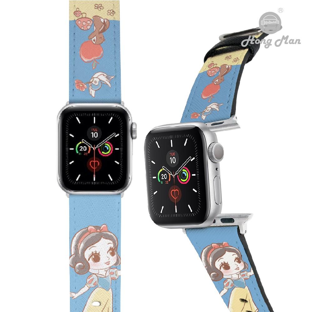【Hong Man】迪士尼公主系列 Apple Watch 皮革錶帶 Q版白雪公主