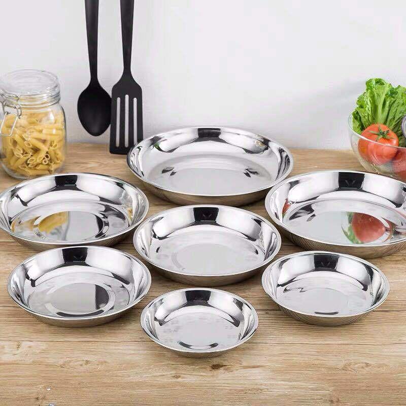 不鏽鋼圓盤 304不鏽鋼盤 餐盤 不銹鋼盤子圓盤菜盤碟子餐盤加厚盤創意家用菜碟湯盤餐具多用途