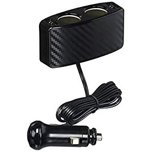 車之嚴選 cars_go 汽車用品【F266】日本SEIWA 4.8A雙USB+雙孔 碳纖紋延長線式點煙器電源插座擴充器