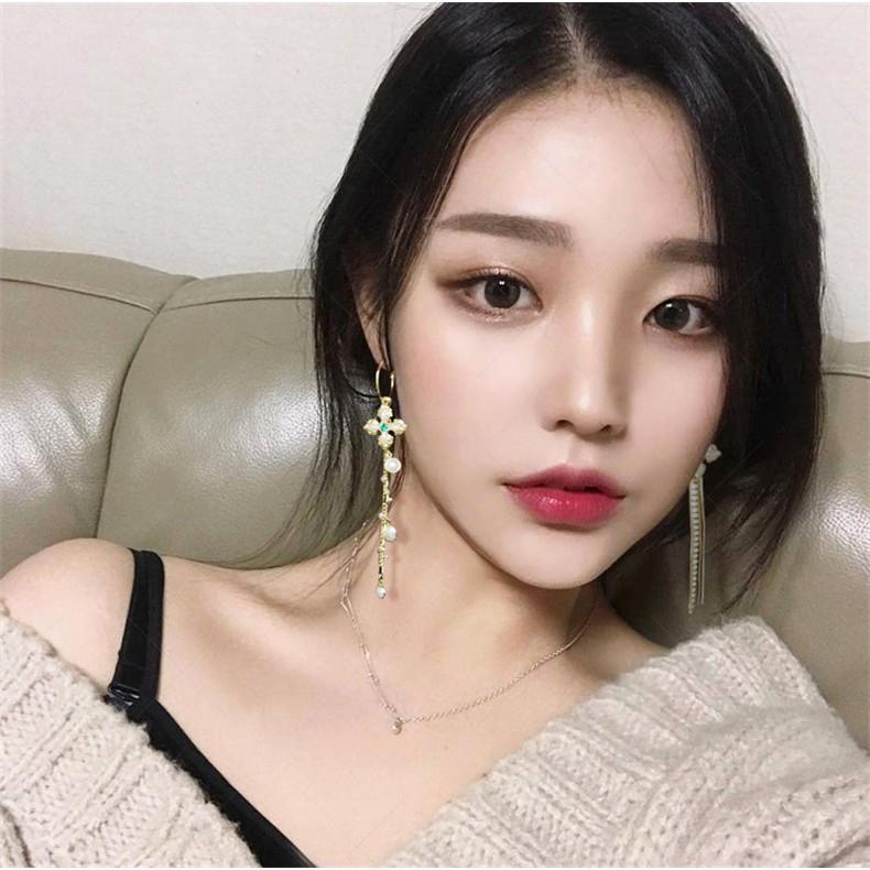 925純銀針 韓國優雅氣質 長款十字架珍珠流蘇 耳環-1810109