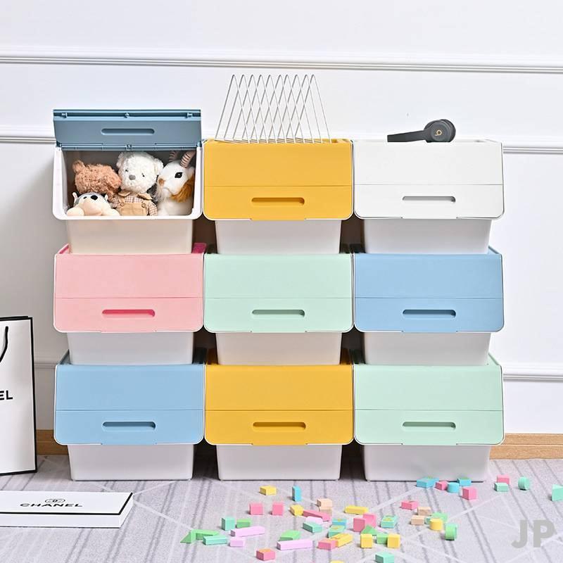 JP🔥🔥斜口收納箱 玩具收納櫃 掀蓋收納箱 整理盒 整理箱收納 儲物箱 零食櫃 可堆疊 下掀式 日式 大號