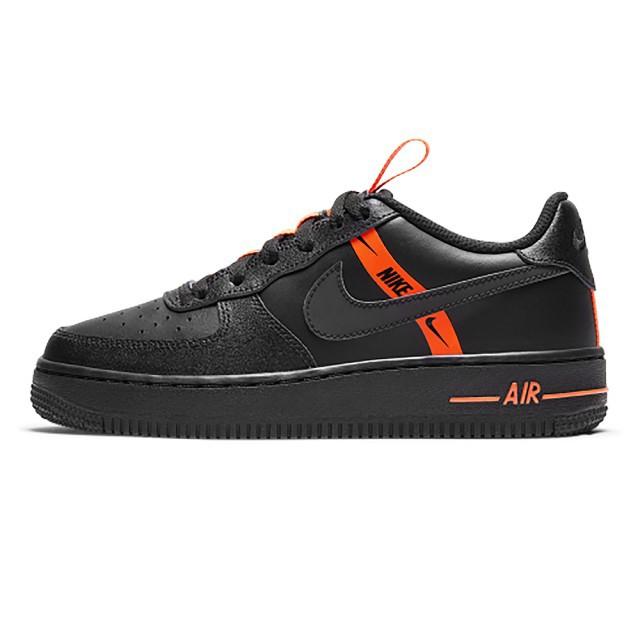 【NIKE】Air Force 1 LV8 黑橘 女鞋 AF1 皮革 大童 反光 休閒鞋CT4683001