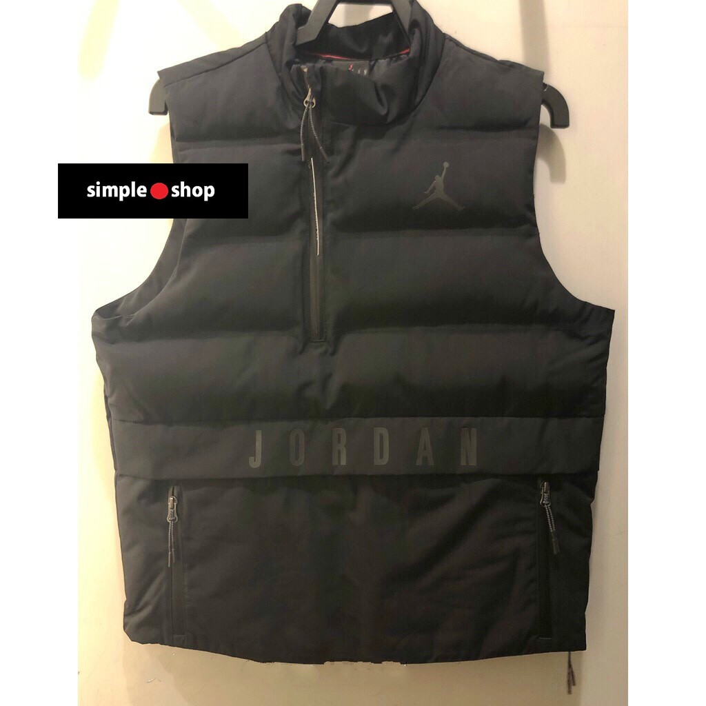 【Simple Shop】NIKE JORDAN 防水 拉鍊 羽絨背心 羽絨 運動背心 外套 黑 926478-010