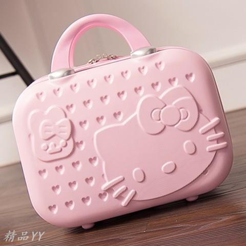 廠家直批??現貨??韓版14寸化妝箱 kitty手提箱 收納箱 旅行箱 14吋行李箱 登機箱包