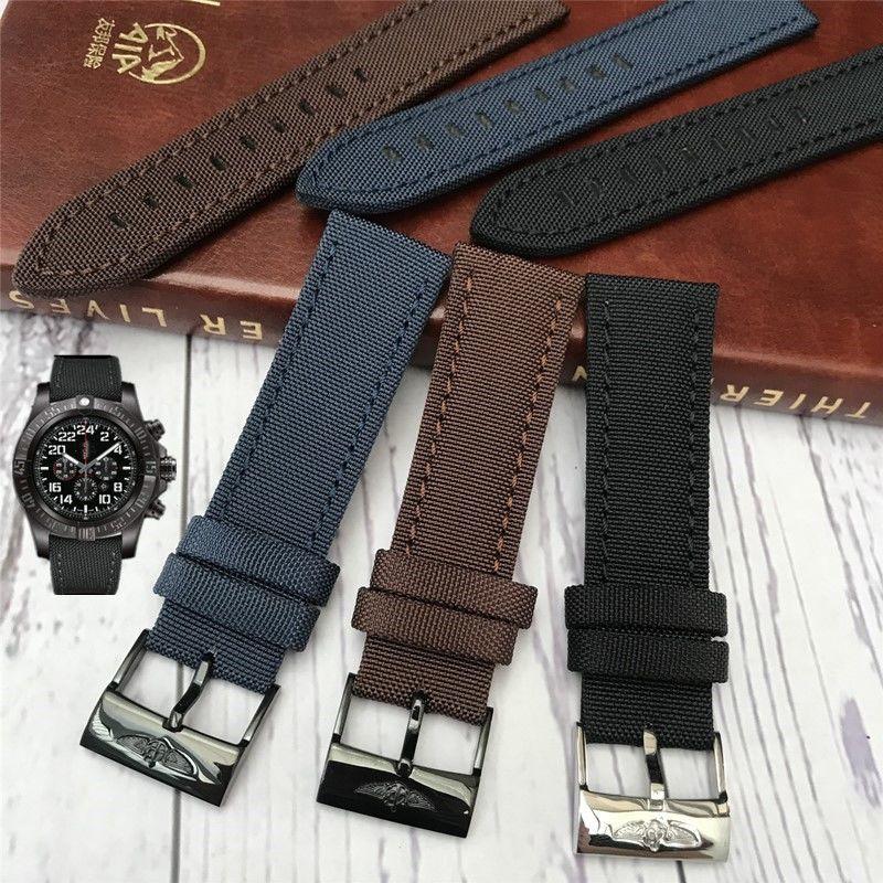 BREITLING (Bo Lanxun) 透氣帆布錶帶適用於黑鳥偵察機復仇者聯盟超級海洋男士手錶, 帶不銹鋼針扣