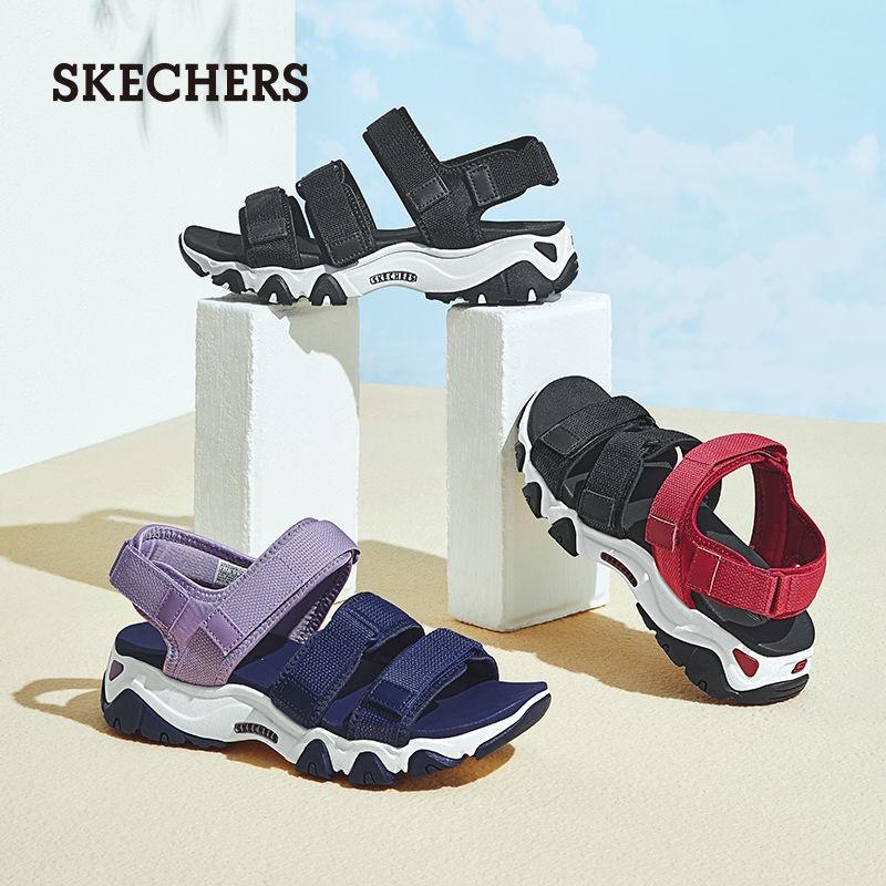 Skechers/斯凱奇涼鞋女2021年新款魔術貼厚底露趾沙灘涼鞋