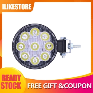 我喜歡商店 27w 9led 工作燈 6000k 3000lm 圓形燈 Ip67 防水通用,  適用於汽車摩托車