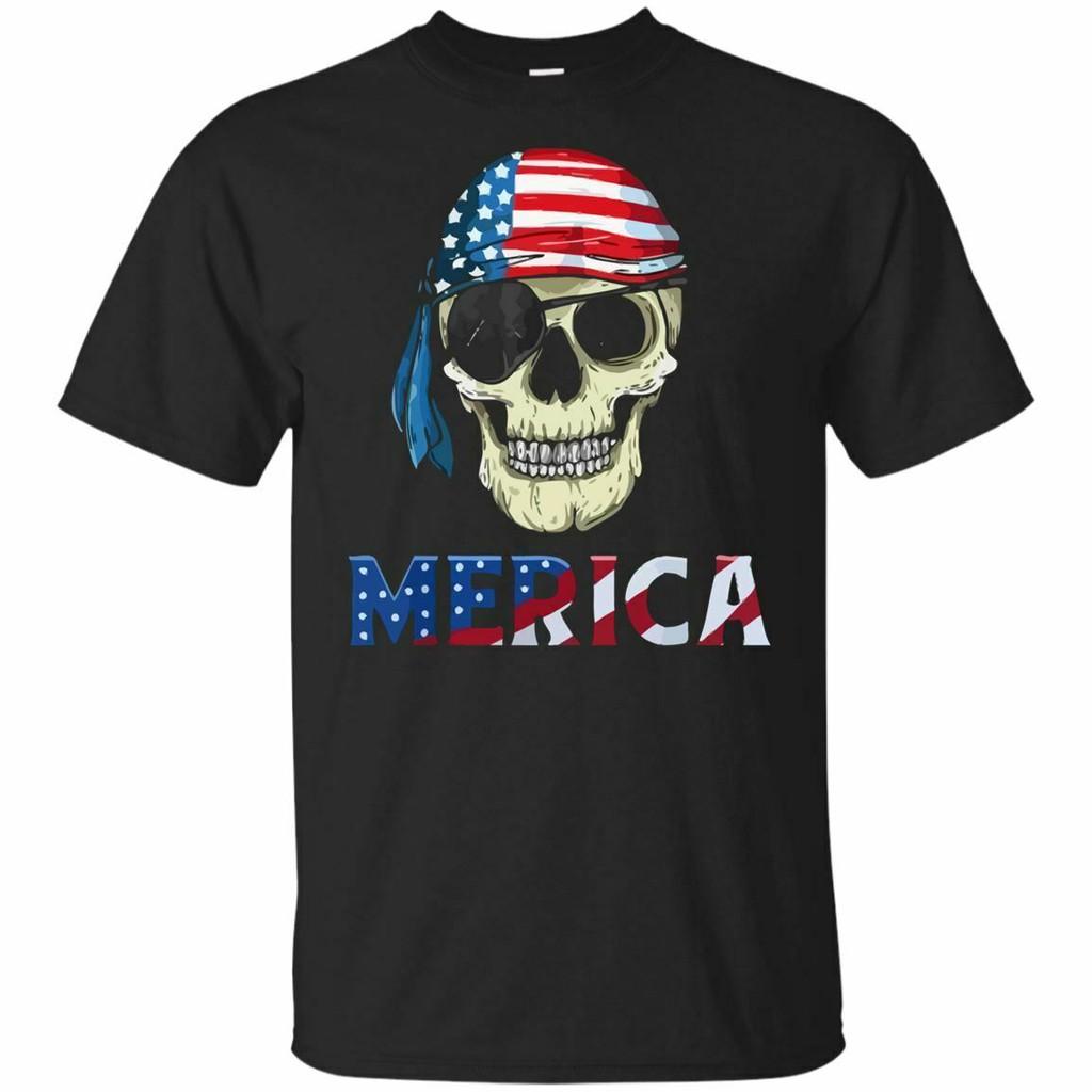 海盜梅里卡7月4日T卹美國國旗頭骨禮物2019