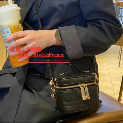 DIOR 迪奧 LADY DIOR VANITY mini 盒子包 化妝包  黑色 斜背包  小方包正品