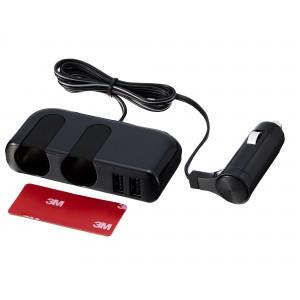 車之嚴選 cars_go 汽車用品【EM-137】SEIKO 2.4A雙USB+2孔黏貼式 超薄型點煙器延長線式電源插座