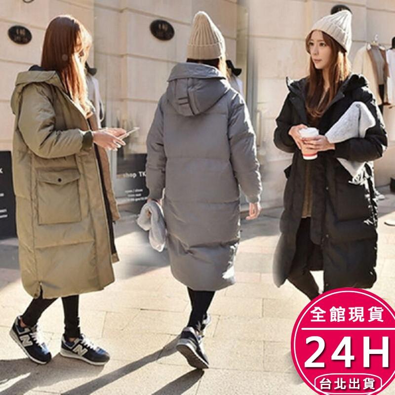 梨卡 - 正韓國代購韓國空運情侶可穿中長版超長版鋪棉連帽外套 - 加厚仿羽絨風衣外套長大衣A135【現貨免運】