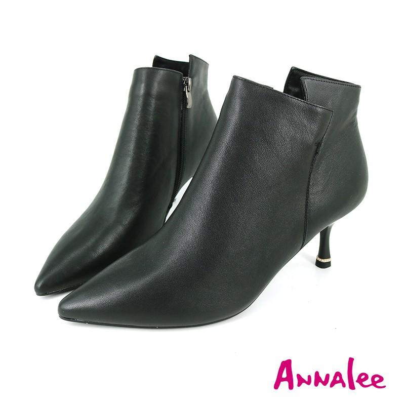 【Annalee】氣質滿分簡約尖頭真皮短靴  - A-023615 - 黑色