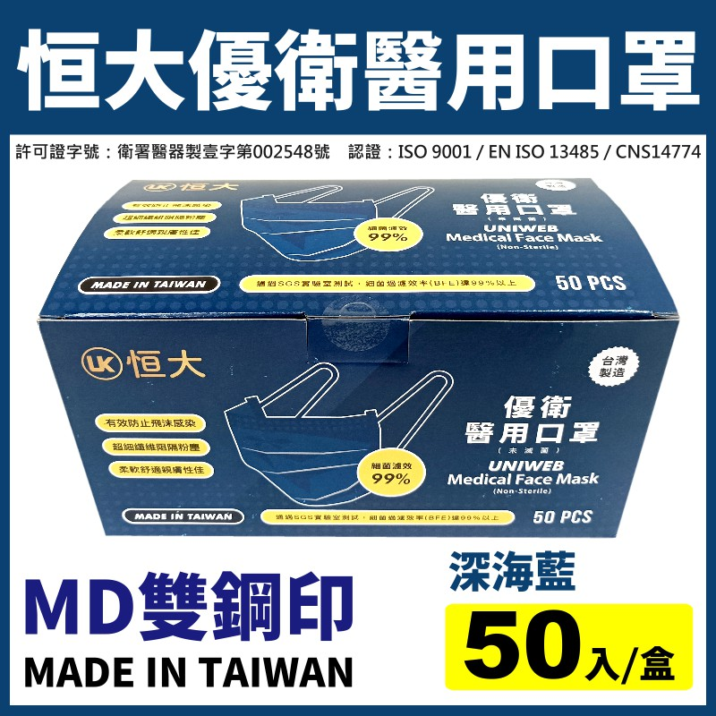 現貨【台灣製造雙鋼印】恒大優衛醫用口罩-深海藍(50入/盒)-成人用《成人口罩、平面口罩、醫療口罩、深藍色口罩》