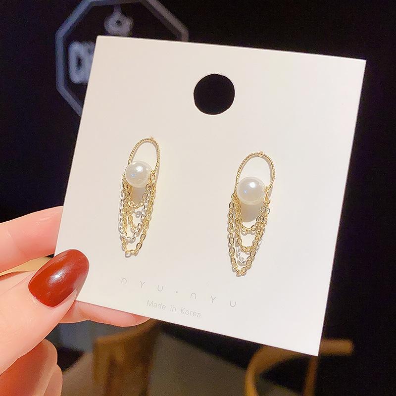 【免運】時尚珍珠耳飾 名媛風氣質流蘇耳環 簡約小巧百搭女生配飾 節日禮物