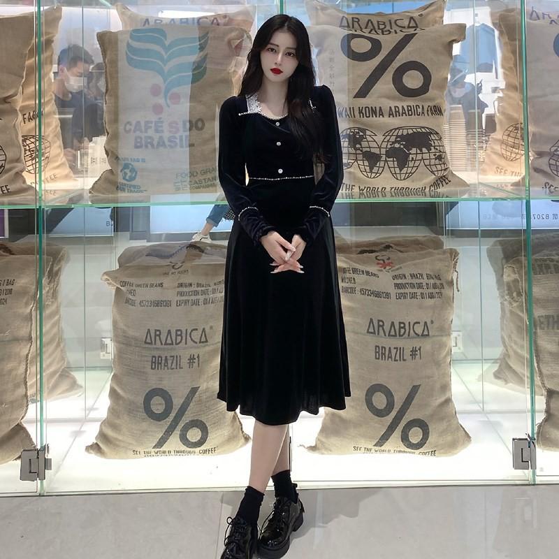 【熱賣】L-4XL【特價】大碼衣著 正韓洋裝 秋季新款收腰赫本風金絲絨氣質連衣裙 連衣裙洋裝
