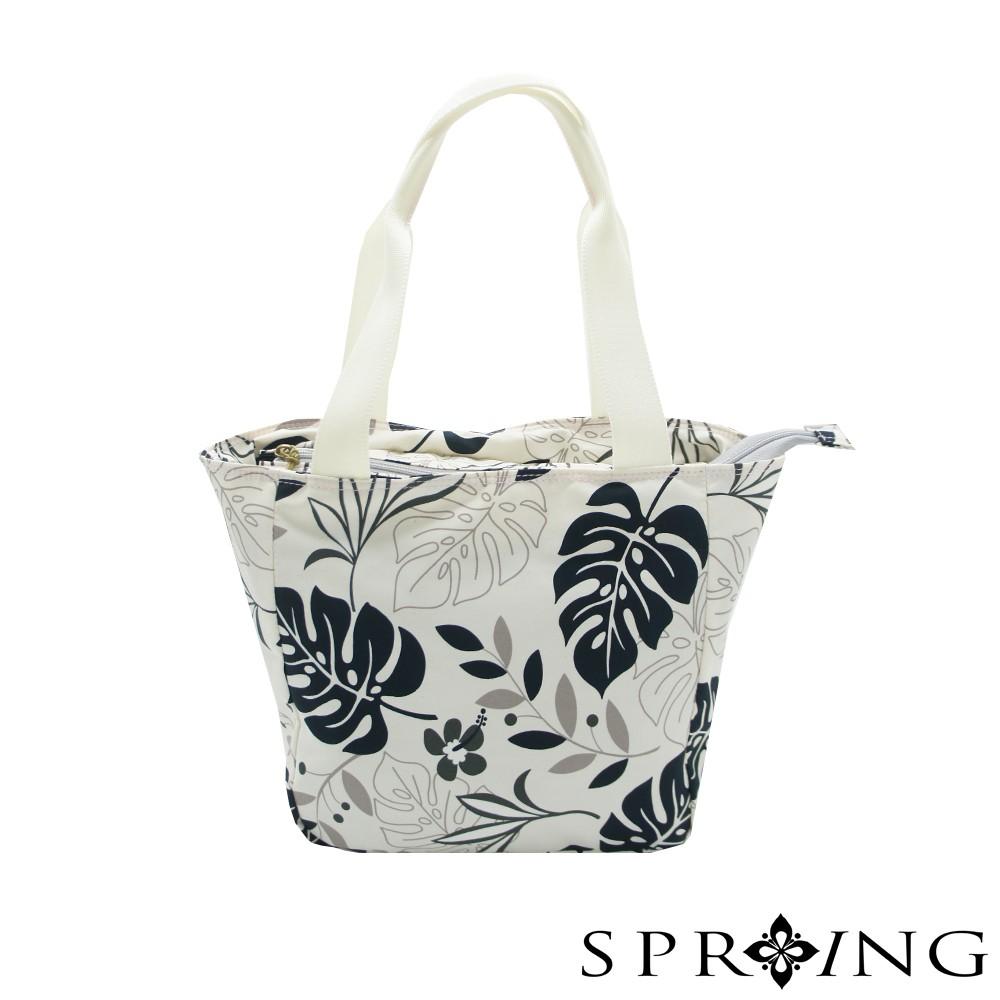 SPRING-超輕量尼龍日式葉子手提包-典雅黑
