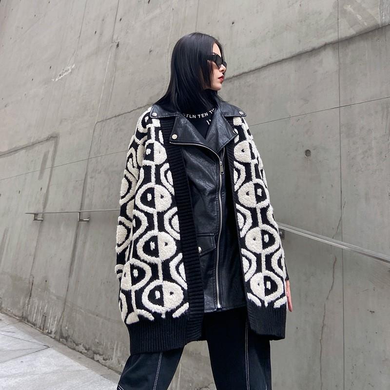 外套2020新款女裝美秋冬復古港味時尚加厚針織拼接pu皮夾克廠家