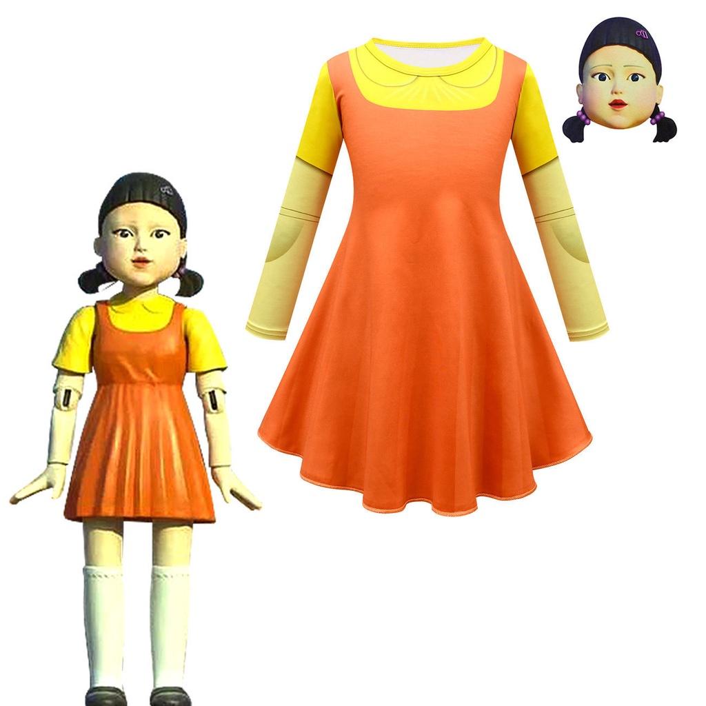 [現貨】萬聖節服裝 魷魚遊戲服飾 123木頭人少女服飾 Squid Game魷魚遊戲123木頭人衣服面具童連衣