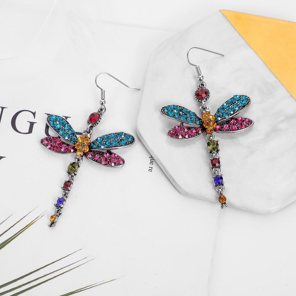 NEULRY歐美跨境飾品滿鑽蜻蜓復古多色耳環氣質彩鑽流蘇昆蟲耳墜飾品