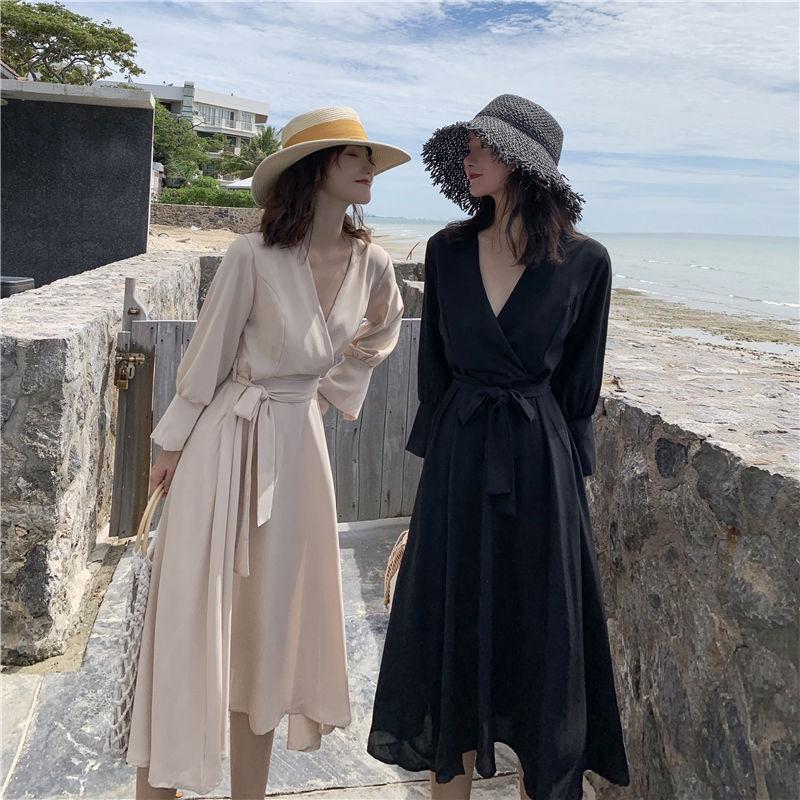 [免運]長袖洋裝 152052法式赫本小黑裙寬鬆氣質大擺連衣