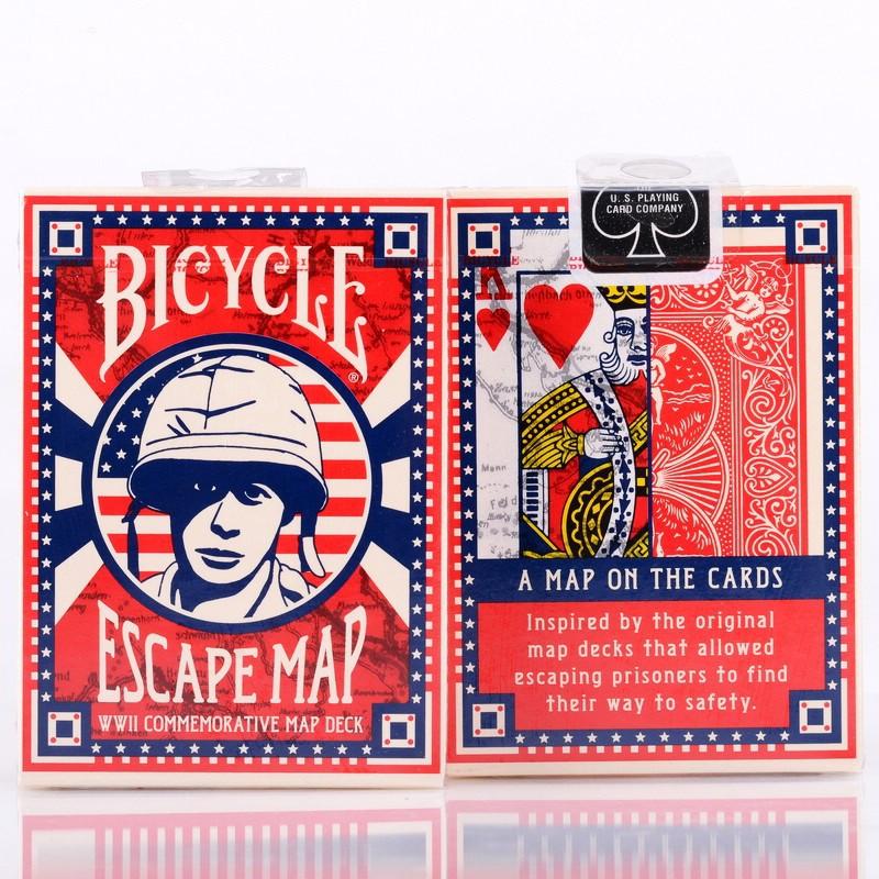 自行車逃生地圖撲克牌魔術師甲板 Uspcc 撲克魔術紙遊戲魔術師魔術技巧道具