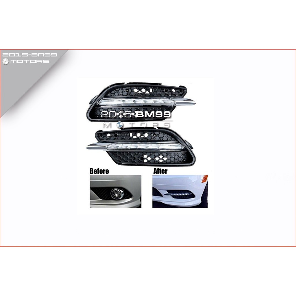 Mercedes Benz 賓士 07-09 W204 C300 AMG 前保桿霧燈改日型燈 一字型 LED 款
