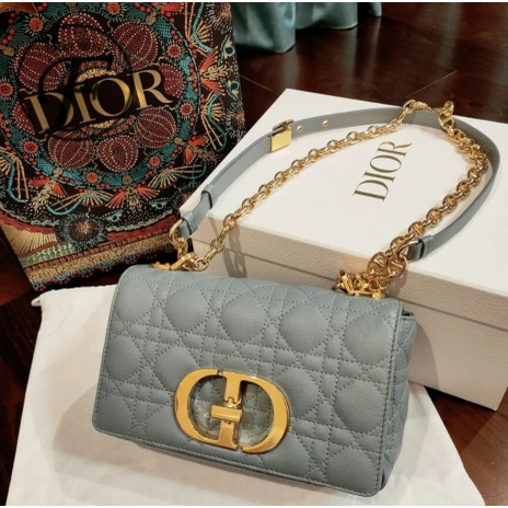 全新正品 DIOR 迪奧 DIOR CARO 天藍色 柔軟牛皮滕格紋 小號 手袋 肩背包 斜挎包 鏈條包 現貨