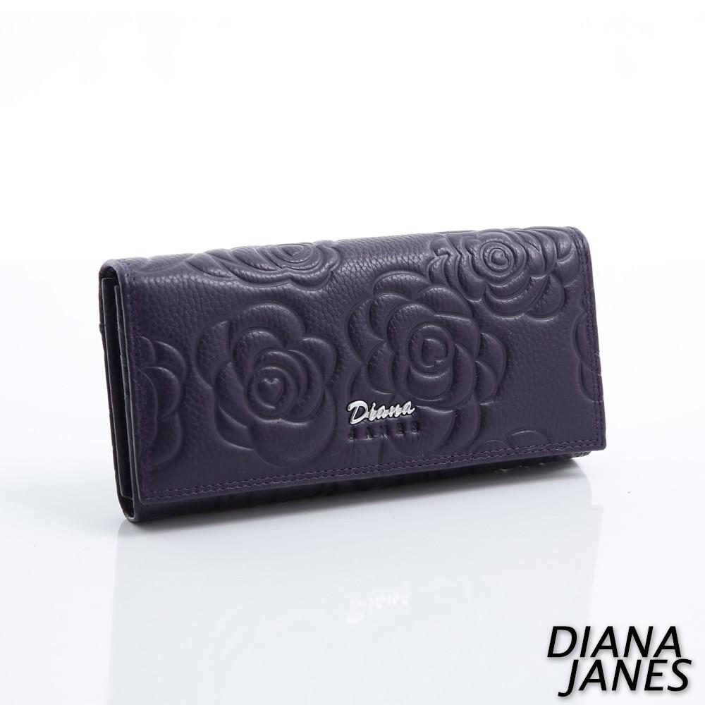 Diana Janes 牛皮 玫瑰壓花 長夾-紫色