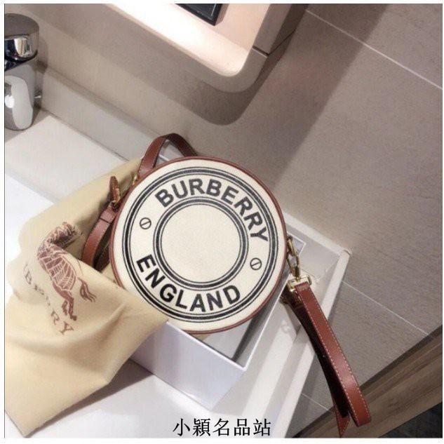 小穎精品Burberry Louise 圓餅包 肩背/斜背包 2020新款 標誌圖案 帆布 80276021現貨