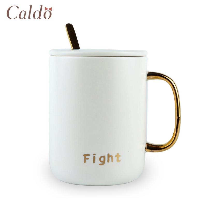 【Caldo卡朵生活】奮鬥吧極簡金邊附蓋勺馬克杯/白