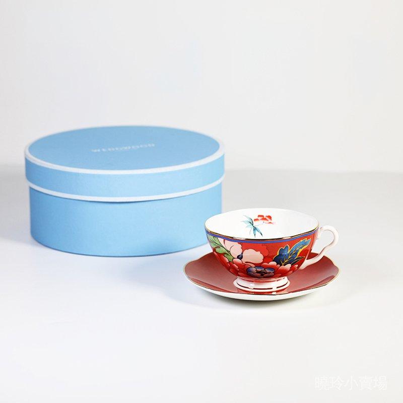 現貨英國Wedgwood Paeonia Blush牡丹骨瓷下午茶紅茶咖啡杯碟紅色