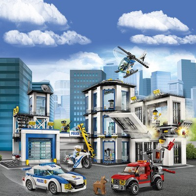 樂高積木城市系列警系局消防警察局拼裝男孩子益智力兒童玩具汽車