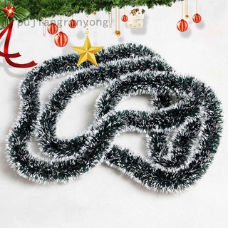 Pujiangrunyong 200cm 彩色酒吧上衣絲帶花環白色深綠色藤條金屬絲派對聖誕樹裝飾品